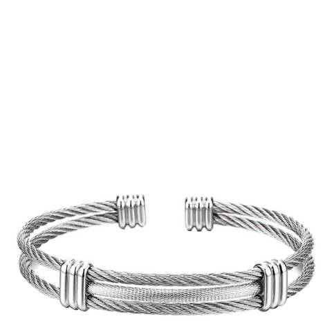 Stephen Oliver Silver Plated Cable Cuff Bangle