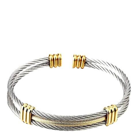 Stephen Oliver 18K Gold/ Silver Cable Cuff Bangle