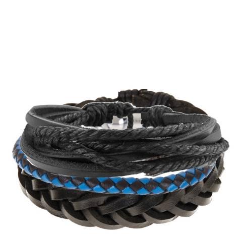Stephen Oliver Blue/Black Leather Woven Bracelets