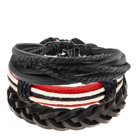 Stephen Oliver Red / Black Set of 3 Leather Woven Bracelets