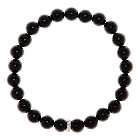 Stephen Oliver Silver Plated CZ and Onyx Bracelet