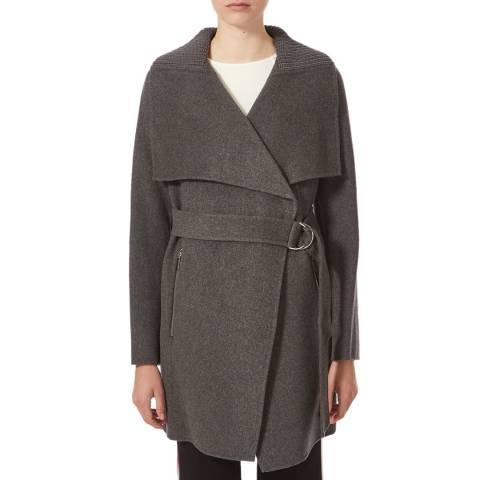 Karen Millen Grey Belted Waist Coat