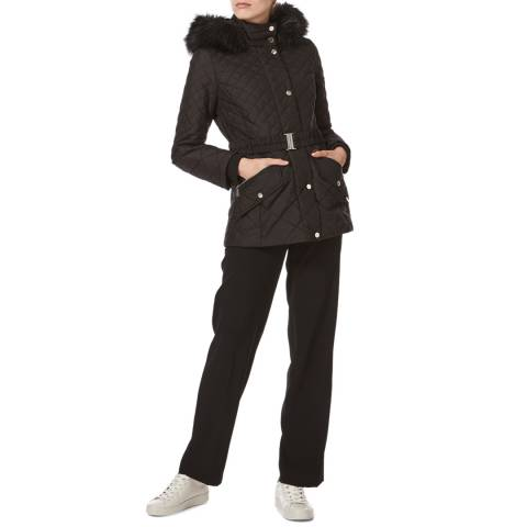 Karen Millen Black Lightweight Diamond Padded Coat