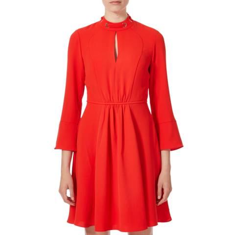 Karen Millen Red Long Sleeve Pleated Dress
