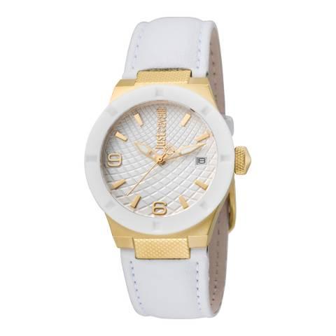 Just Cavalli White Leather Strap Watch 34mm