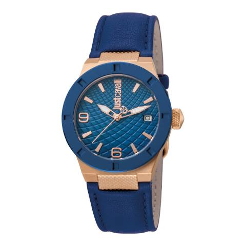 Just Cavalli Navy Rose Gold Plated Leather Watch 34mm