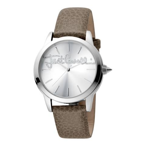 Just Cavalli Grey Leather Strap Watch 36mm
