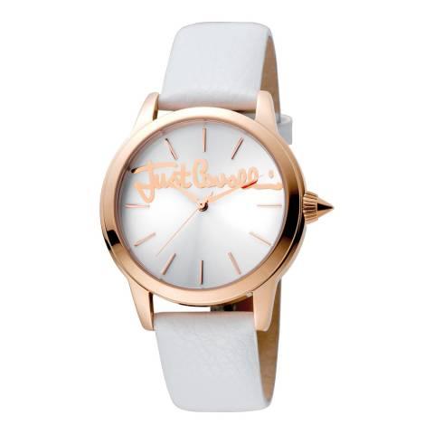 Just Cavalli White Leather Strap Watch 36mm