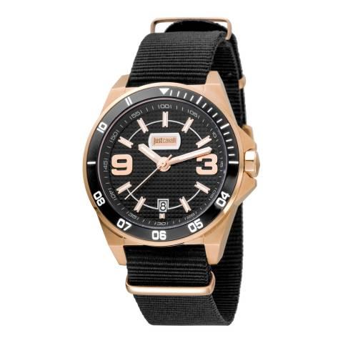 Just Cavalli Black Nylon Strap Watch 40mm