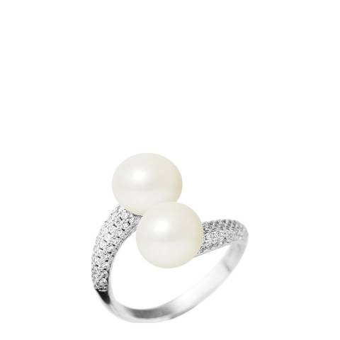 Just Pearl Silver White Freshwater Pearl Adjustable Ring 9-10mm