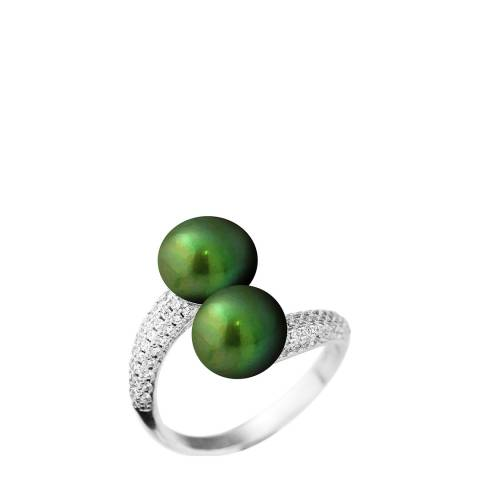 Just Pearl Green Malachite Freshwater Pearl Adjustable Ring 9-10mm
