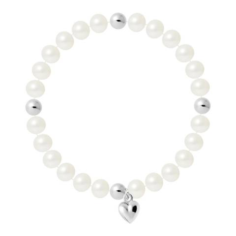 Just Pearl Natural White Half Round Pearl Bracelet 7-8mm