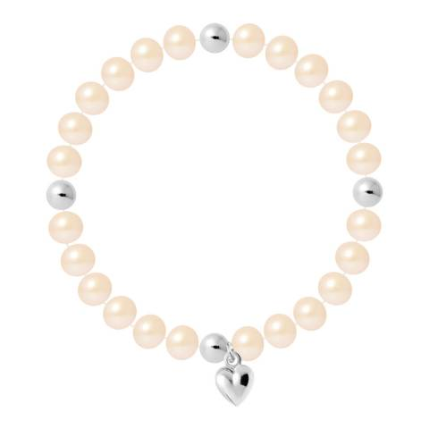 Just Pearl Natural Pink Half Round Pearl Bracelet 7-8mm