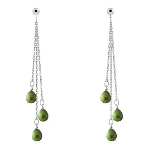 Just Pearl Green Malachite 3 Pear Pearl Hanging Earrings 5-6mm