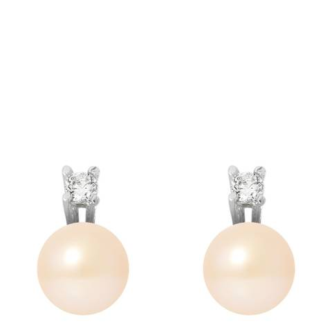 Just Pearl Natural Pink Silver Pearl Earrings 8-9mm