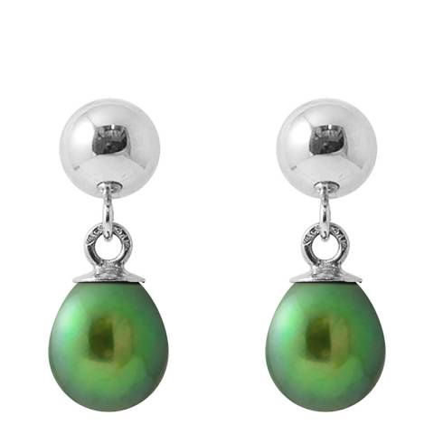 Just Pearl Green Malachite Pear Pearl Earrings 6-7mm