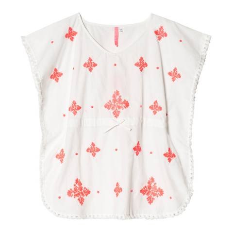 Seafolly White/Coral Embroidered Kaftan