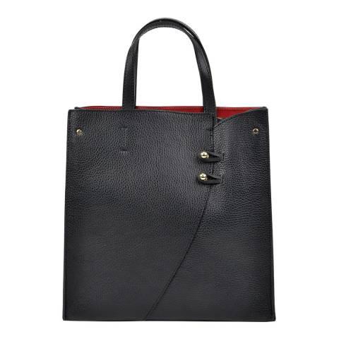 Luisa Vannini Black Leather Top Handle Bag