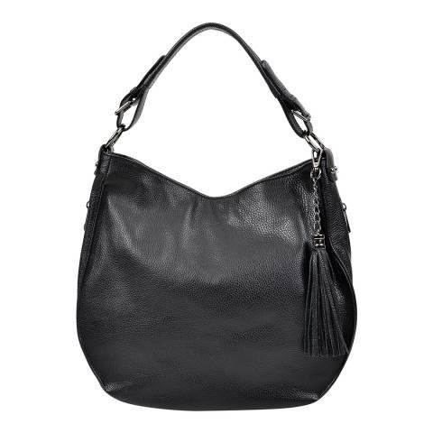 Luisa Vannini Black Leather Tassel Tote Bag
