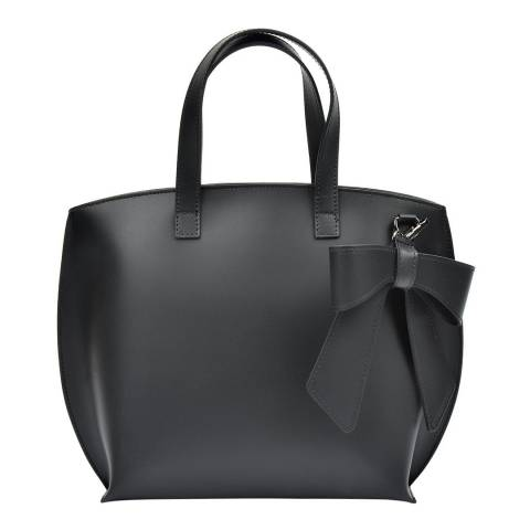 Luisa Vannini Black Leather Bow Tote Bag