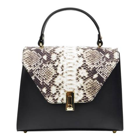 Luisa Vannini Black Leather Snake Print Bag