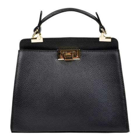 Luisa Vannini Black Leather Tote Bag
