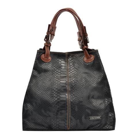 Luisa Vannini Black Leather Buckle Handbag