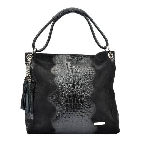 Luisa Vannini Black Luisa Vannini Leather Croc Bag