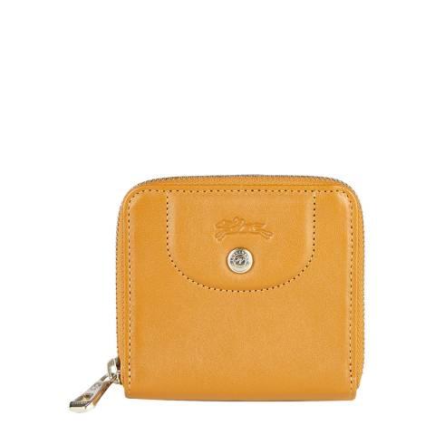 Longchamp Natural Le Pliage Leather Compact Wallet