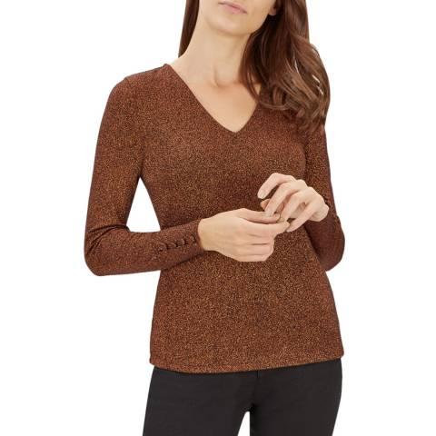 Jaeger Bronze Lurex Cotton Jersey Top