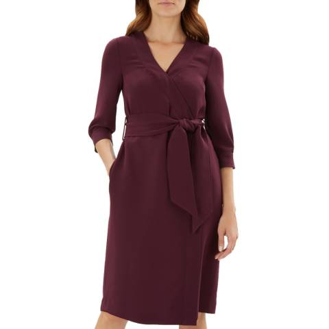 Jaeger Purple Wrap Crepe Dress