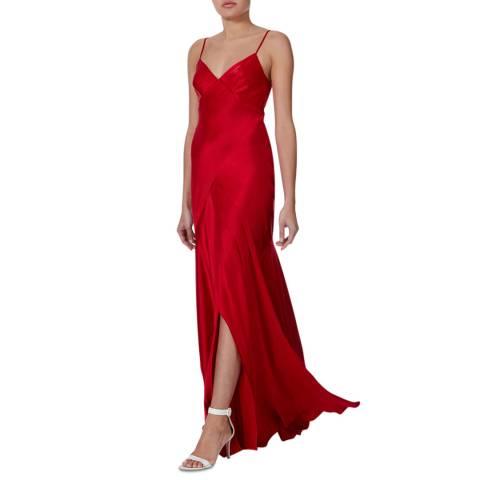 Amanda Wakeley Red Bias Strappy Maxi Dress