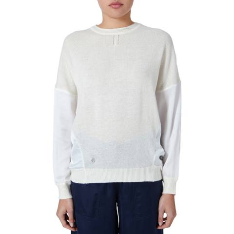 Amanda Wakeley Ecru Crew Neck Cashmere/Silk Top