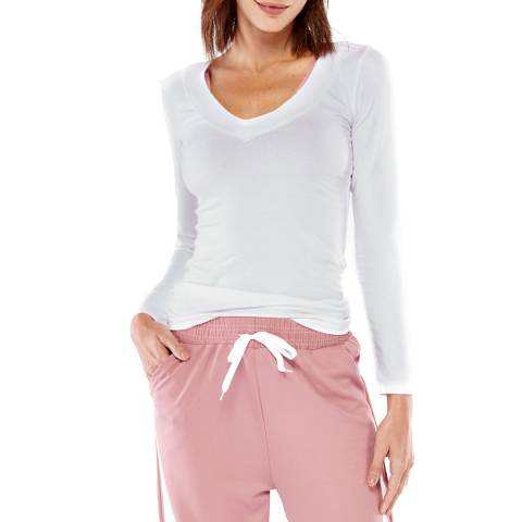 Electric Yoga White Perfect Long Sleeve Top