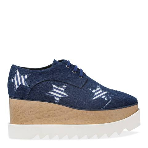 Stella McCartney Blue Elyse Denim Platform Shoe