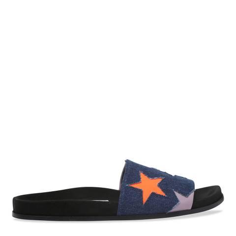 Stella McCartney Denim Embroidered Sliders
