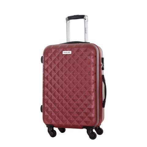 Travel One Burgundy 4 Wheel Edison Suitcase 55cm