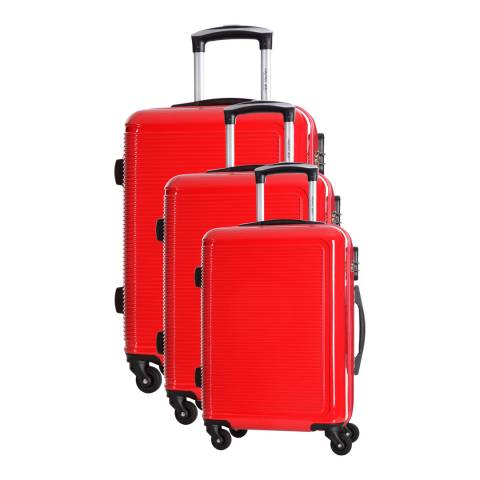 Travel One Red 8 Wheel Maryhill Suitcases Set of Three S/M/L