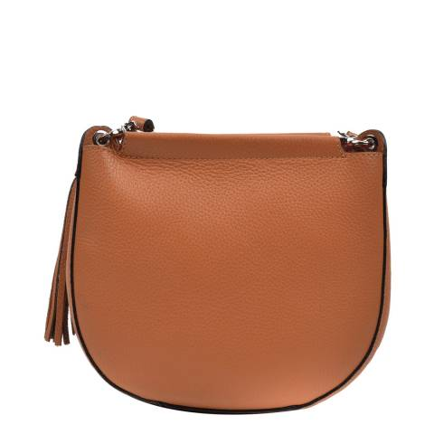 Anna Luchini Brown Leather Tassel Shoulder Bag