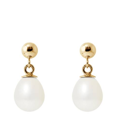 Ateliers Saint Germain White/Yellow Gold Pear Pearl Earrings 7-8mm