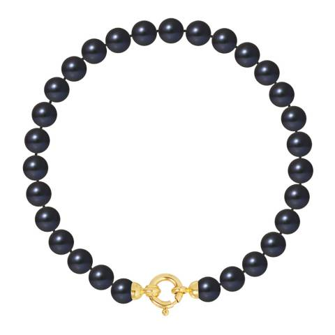 Atelier Pearls Black/Yellow Gold Row of Round Pearl Bracelet 6-7mm