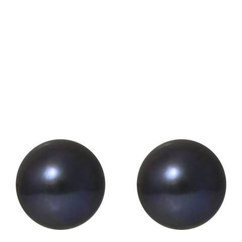 Ateliers Saint Germain Yellow Gold/Tahitian Black Button Pearl Earrings 8-9mm