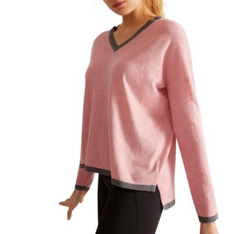 Rodier Pink Cashmere Blend V Neck Pullover
