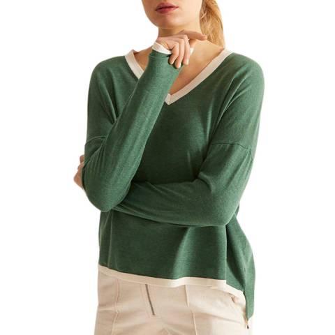 Rodier Green Cashmere Blend V Neck Pullover