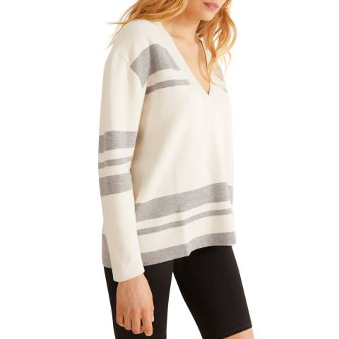 Rodier Grey/White Cashmere Blend V Neck Pullover