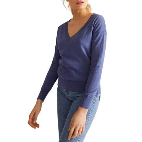 Rodier Blue V Neck Cotton Pullover