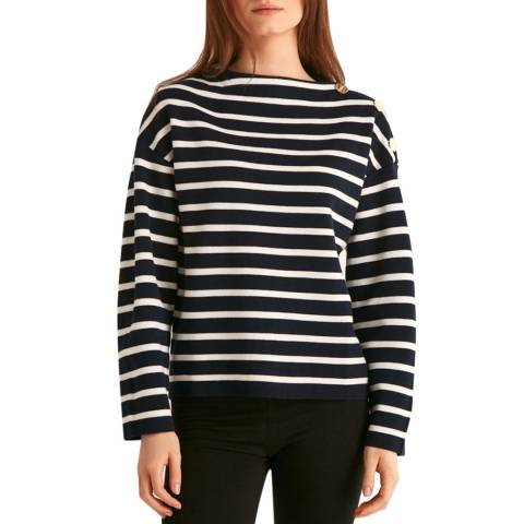 Rodier Navy/White Striped Pullover