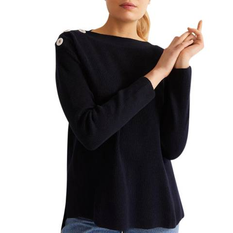 Rodier Navy Boat Neck Cashmere Blend  Pullover