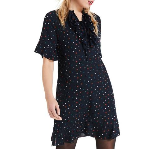 Phase Eight Navy/Multi Sarah Frill Dress