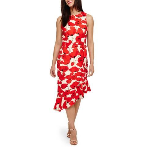 Phase Eight Poppy/Off White Dorothy Frill Dress